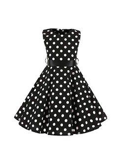 Girls 50s Vintage Polka Dot Flower Swing Rockabilly Prom Party Tea Dress Kids Audrey Wedding Formal Cocktail Evening Gown