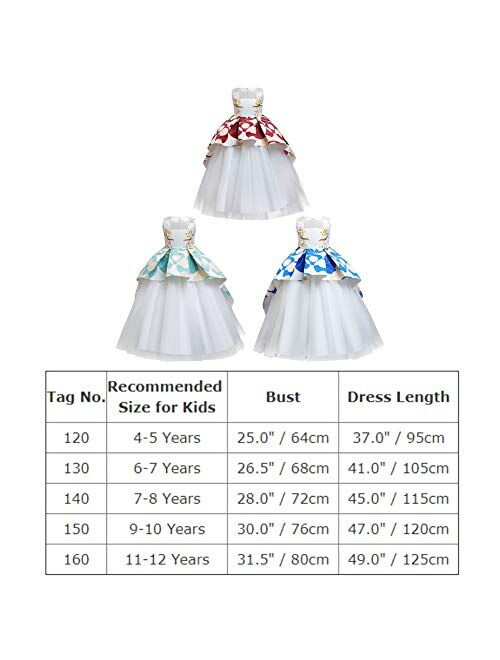 IBTOM CASTLE Baby Girls Princess Dress Christmas Pageant Party Wedding Tutu Short Graduation Striped Snowflake Dance Gown