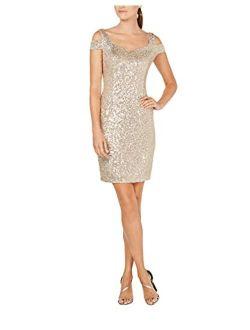 Women's Cold Shoulder Cocktail Sheath Dress