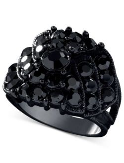 Jet Black Crystal Accent Ring