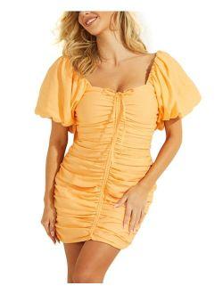 Kiki Drama Puff-Sleeve Ruched Bodycon Dress