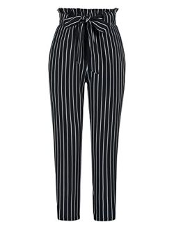 Women Ruffled High Waist Casual Pants Cropped Striped Pants