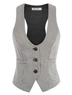 Womens Waistcoat Vest Vintage Steampunk Dress Racerback Jacquard Jacket