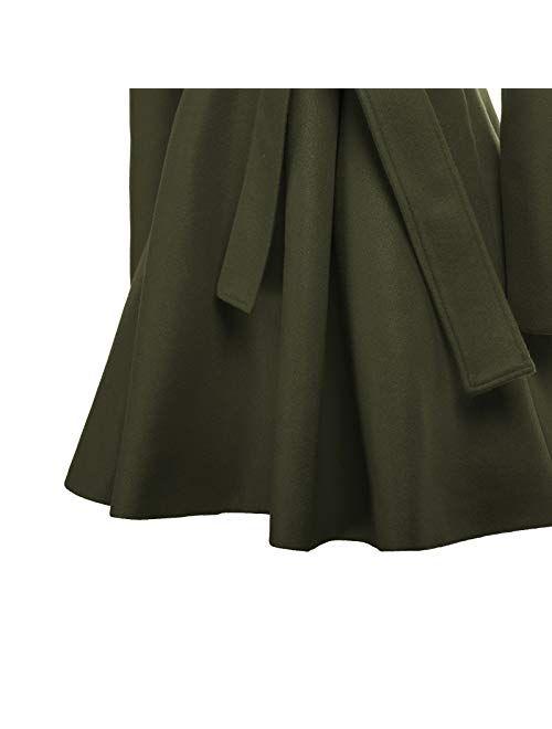 GRACE KARIN Women's Notch Lapel Long Sleeve a Line Pea Coat with Self Tie Belt