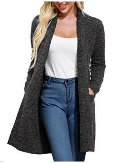 Essential Open Front Long Knitted Wool Cardigan Sweater With Pockets For Women