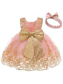 Bowknot Flower Girl Dresses Lace Princess Wedding Tutu Gown for Kids Baby Christening Baptism Birthday Sundress w/Headwear