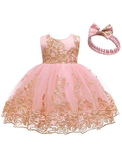 IBTOM CASTLE Bowknot Flower Girl Dresses Lace Princess Wedding Tutu Gown for Kids Baby Christening Baptism Birthday Sundress w/Headwear