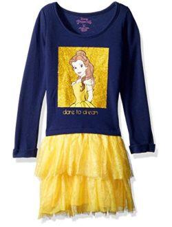 Girls' Little Belle Graphic Long Sleeve Dress With Tutu Skirt