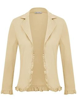 Women Business Casual Cropped Blazer Jacket Open Front Cotton Cardigan