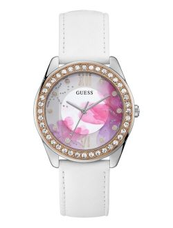 Women's White Leather Strap Watch 40mm