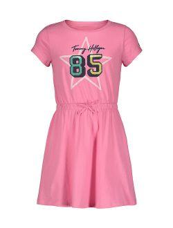 Pink Carnation '85' Star Logo T-Shirt Dress - Girls