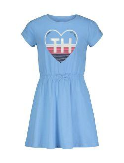 Light Azure Blue Heart Logo T-Shirt Dress - Girls
