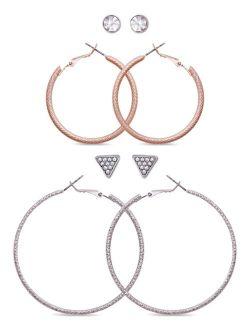 Two-Tone 4-Pc. Set Crystal Stud & Hoop Earrings