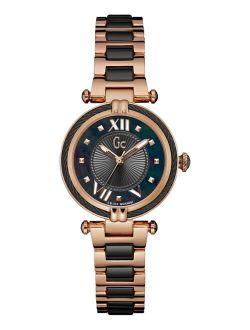 Women's Swiss Rose Gold-Tone Stainless Steel & Black Ceramic Bracelet Watch 32mm