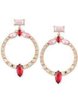Gold-Tone Multi-Crystal Front-Facing Drop Hoop Earrings