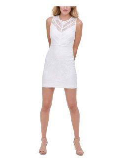 Chevron-Trim Lace Dress