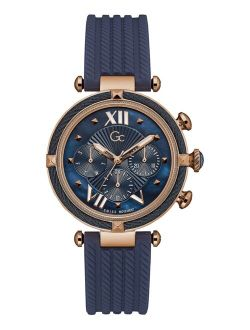 Women's Swiss Blue Silicone Strap Watch 38mm
