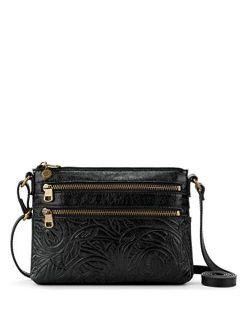 Reseda Embossed Leather Detail Mini Crossbody Bag