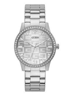 Women's Silver-Tone Stainless Steel Glitz Bracelet Watch 40mm