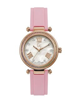 Gc Women's Prime Chic Pink Silicone Strap Watch 36mm