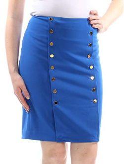 Women's Petite Button Front Straight, Pencil Skirt