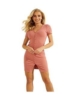 Women's Short Sleeve Raylynn Henley Rib Mini Dress