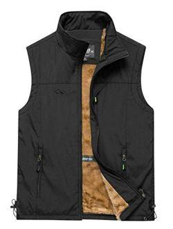 Gihuo Men's Sherpa Fleece Outdoor Vest Winter Fishing Travel Vest Gilet
