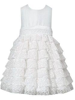 Little Girls Off White Shantung Lace Dress, Ivory, 4-6x