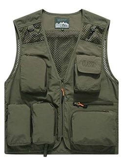 Gihuo Men's Outdoor Removable Back Fishing Mesh Vest with Cargo Pockets