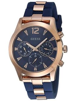 Women's Stainless Steel Analog Quartz Watch With Silicone Strap, Blue, 22 (model: U1294l2)