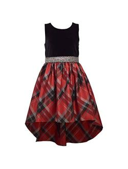 Girl's Holiday Christmas Dress 7-16 - Red Black Plaid Hi Low