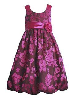 Jessica Ann Fuchsia Floral Special Occasion Bubble Dress (2t-6x)
