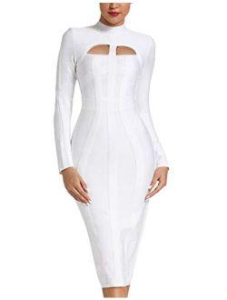 whoinshop Women's Cut Out Long Sleeve Party Bandage Dress Clubwear Midi