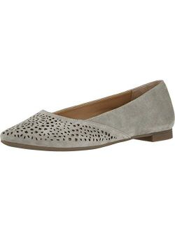 Women's Gem Carmela Perforated Detail Pointed Toe Flats - Ladies Flat Shoes With Concealed Orthotic Arch Support