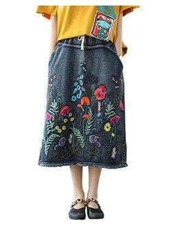Yimoon Women's Ethnic Loose Pockets Embroidered Denim Midi Skirt with Elastic Waist
