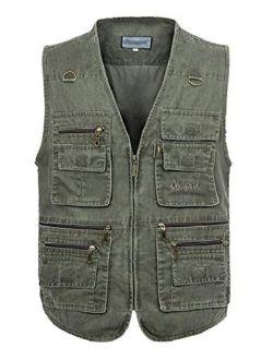 Yimoon Men's Outdoor Multi-Pocket Safari Fishing Denim Travel Vest