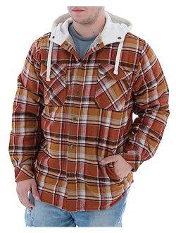 Men's Camp Night Berber Lined Hooded Flannel Shirt Jacket