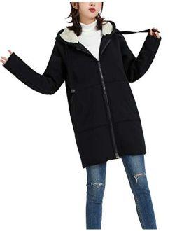 Yimoon Women's Casual Sherpa Fleece Lined Zip Up Tunic Hooded Sweatshirts Jacket