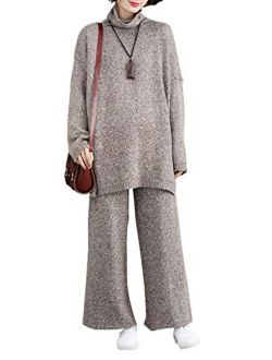 Yimoon Women's 2 Pieces Outfits Loose Pullovers Knit Sweater and Wide Leg Pants Set