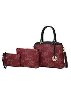 Mia K Collection Shoulder Bag for Women, Crossbody Purse & Wristlet: PU Leather Satchel Pocketbook 3 PCs Handbag Set