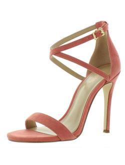 Ael Kors Womens Antonia Suede Heel Dress Sandals