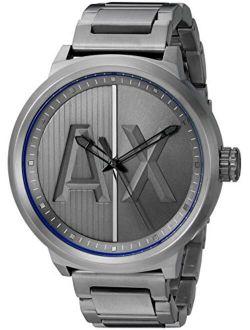 Men's Three Hand Gunmetal Gray Stainless Steel Watch AX1362 49mm