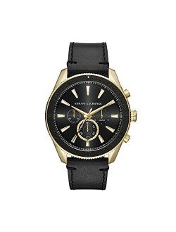 Men's Stainless Steel Analog-quartz Watch With Leather Calfskin Strap, Black, 22 (model: Ax1818)