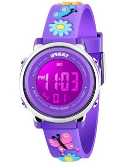 Kids Watch 3D Cartoon Toddler Wrist Digital Watch Waterproof 7 Color Lights with Alarm Stopwatch for 3-10 Year Boys Girls Little Child
