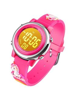 Kids Unicorn Watch Waterproof Digital - Upgrade 3D Cute Cartoon 7 Color Lights Sport Outdoor Toddler Watch with Alarm Stopwatch for 3-10 Year Boys Girls Little Child - Be