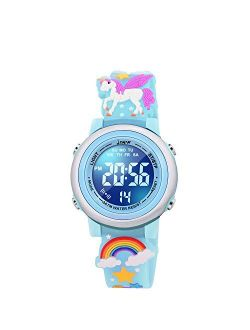 VAPCUFF 3D Cartoon Waterproof Watches for Girls with Alarm - Best Toys Gifts for Girls Age 3-10