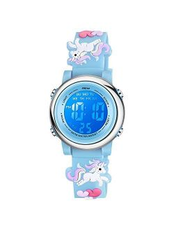 Venhoo Kids Watches 3D Cartoon Waterproof 7 Color Lights Toddler Digital Wrist Watch with Alarm Stopwatch Gifts for 3-10 Year Girls Little Child