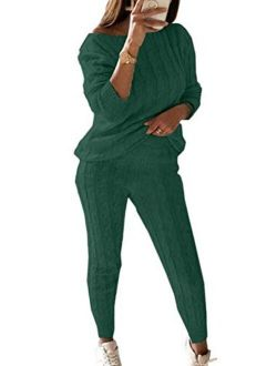 Women's Casual Solid 2 Piece Knitted Tracksuit Long Sleeve Sweater Pullover Jogger Sweatpants Active knitted lounge set