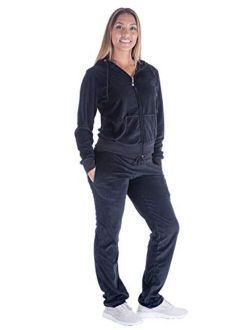 Womens Velour Tracksuit Set Knitted Two Piece Outfits Fashion Zip Up Hoody Sweatshirt and Sweatpants Sweat knitted lounge set