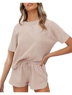 Women's Waffle Knit Pajama Set Short Sleeve Top And Shorts Loungewear Athletic Knitted Lounge Set